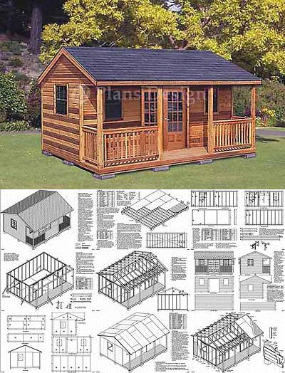 Building Plans And Blueprints 42130 16 X 20 Cabin Shed Guest House Building Plans 61620 Buy It Now On Guest House Shed Pallet House Plans Tiny Cabin Plans