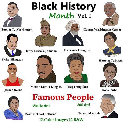 Black History Month,Digital Stamps, MLK, Rosa Parks, Harriet Tubman, Nelson Mandela, Maya Angelou, Png art