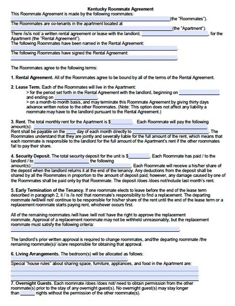 Free Kentucky SubleaseRoommate Agreement Form  Pdf Template
