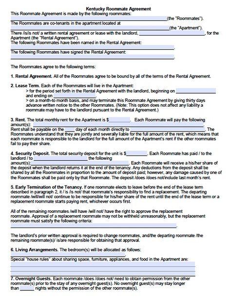 Free Kentucky SubleaseRoommate Agreement Form  Pdf Template