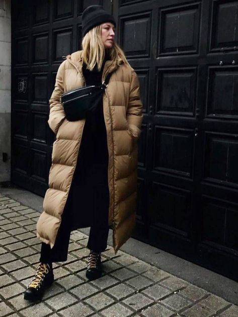 5 Work Outfit Ideas That Take Less Than 5 Minutes to Put Together Winter work outfits: puffer coat and hiking boots