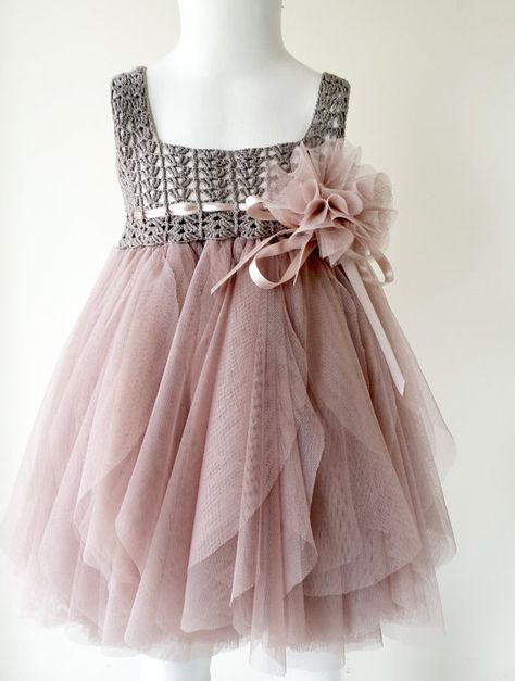 Sooooooo SwEEt! Taupe and Pinky Beige Empire Waist Baby Tulle Dress with Stretch Crochet Top: dress for purchase