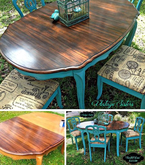 You will love this rustic farm kitchen table makeover . You will love this rustic farm kitchen table makeover! I have old furniture: this is beautiful! Refurbished Furniture, Repurposed Furniture, Furniture Makeover, Painted Furniture, Refinished Chairs, Furniture Projects, Furniture Making, Diy Furniture, Furniture Stores