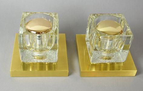 Zwei Glaswurfel Lampen 70er Jahre Wandlampen Oder Tischlampen Etsy Lamp Vintage Shops Light