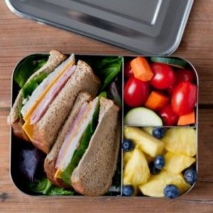 LunchBots Bento box - trio. Perfect for a litterless school lunch. Fits a sandwich and two snacks, such as fruit and vegetable sticks or a salad.