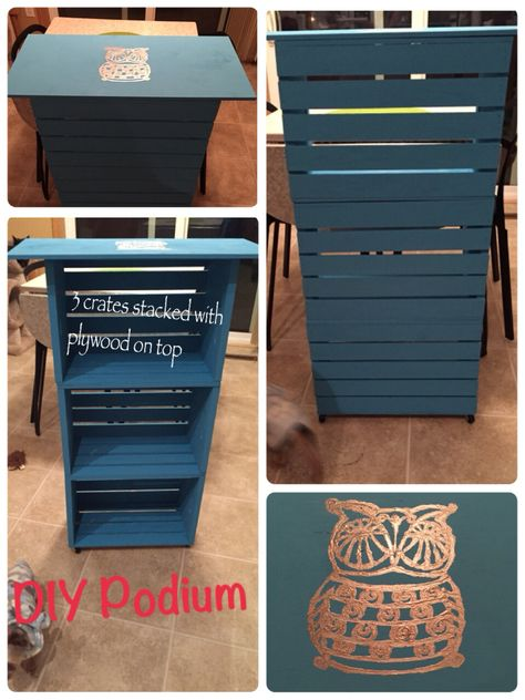 EASY DIY teachers podium with storage.  3 crates and plywood plus wheels for easy moving