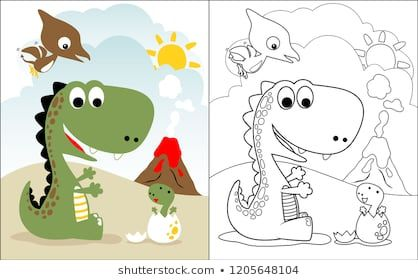 Coloring Book Vector With Dinosaurs World Cartoon Funny Books For Kids Family Cartoon Coloring Books