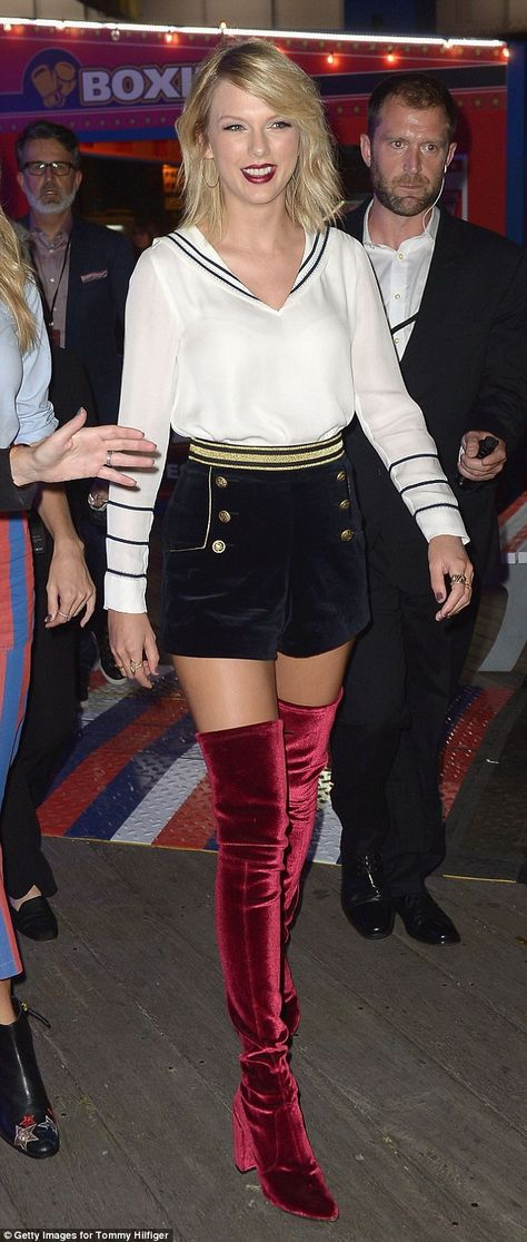 Simply stunning! Taylor Swift stopped the TommyNow show on Friday when she showed up in thigh-high red velvet boots and an ensemble plucked from Gigi Hadid's new Hilfiger collection