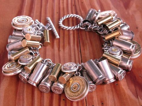 Unique Designed Mixed Metal Loaded Bullet and Shotgun Casing Charm Bracelet Ammo Jewelry, Custom Jewelry, Jewelry Crafts, Jewelery, Jewelry Accessories, Handmade Jewelry, Jewelry Design, Designer Jewelry, Jewelry Ideas