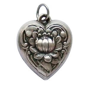 Heart Outline with Pink Ribbon Looping Through Custom Year Stainless Steel Heart Bead Charm