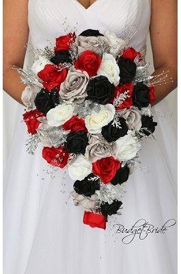 Black Red And Grey Theme Wedding Flower Brides Bouquet Black Wedding Decorations Red Wedding Decorations Red Silver Wedding