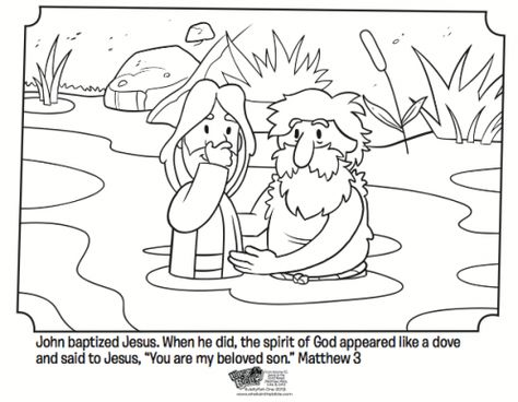 Kids coloring page from What's in the Bible? featuring Jesus being baptized by John the Baptist from Matthew 3. Volume 10: Jesus is the Good News!