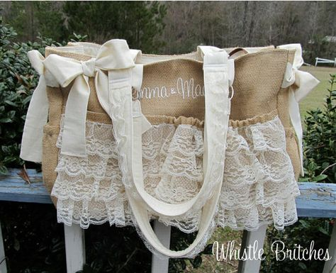 Custom Diaper Bag XL Deluxe Handmade Boutique Burlap and Lace Baby Shabby Chic Natural 10 Pockets Baby Girl Nappy Western Tan Cream Rustic