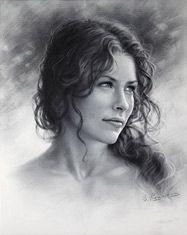 Evangeline Lilly Drawing by Dry Brush. Artwork by Igor Kazarin.