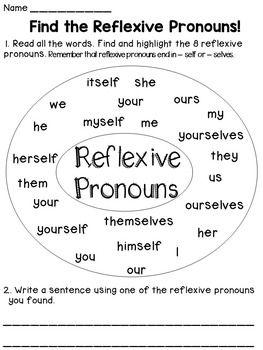 Reflexive Pronouns | Pronoun worksheets, Fun worksheets and Sentences