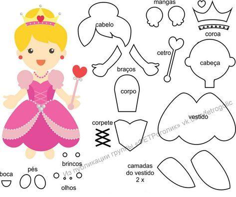 Bonecas Princesas Com Moldes Diy Feltro Com Imagens