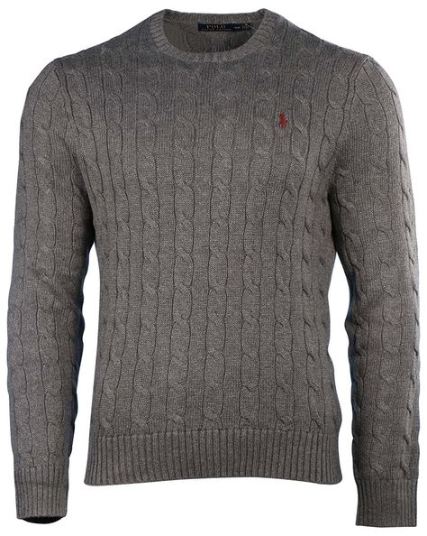 super popolare 6524a 4350e Polo Ralph Lauren Men's Pony Cable Knit Crewneck Sweater at ...