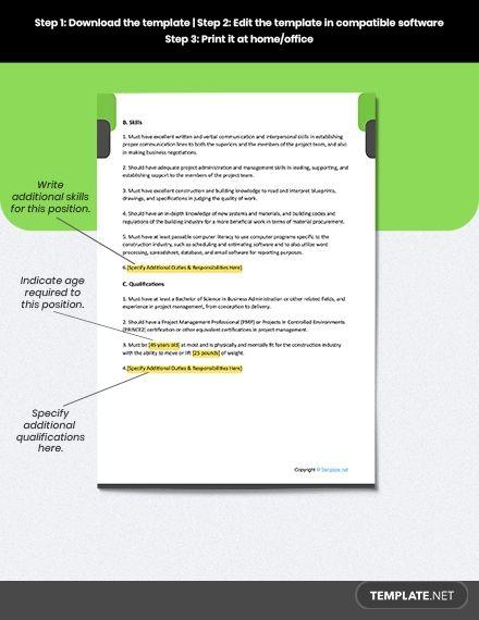 Free Construction Project Coordinator Job Ad Description Template Word Doc Apple Mac Pages Google Docs Job Description Template Job Ads Coordinator Job