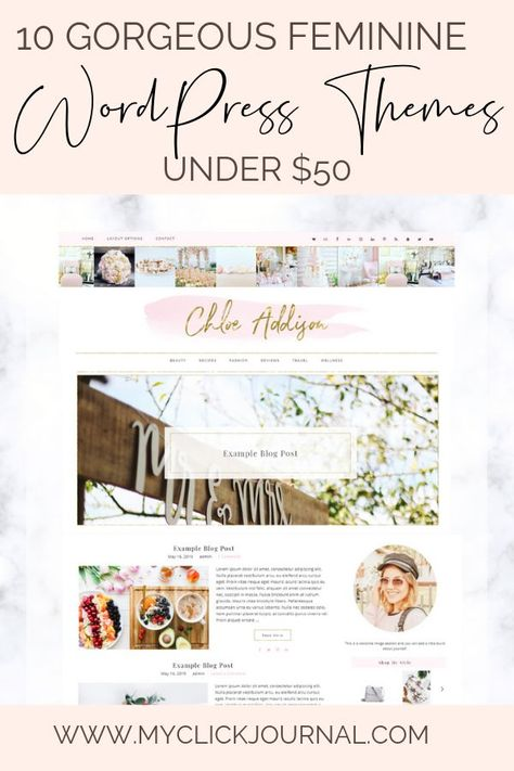 Feminine WordPress Blog Themes for Bloggers! Find the perfect Wordpress theme for your blog or small business. Here is a list of 10 beautiful Wordpress themes that are feminine and perfect for girl boss entrepreneurs under $50, on a budget! #wordpressthemes #wordpresstheme #femininetheme