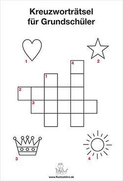 Kinder Kreuzwortratsel Grundschule Zum Ausdrucken Kreuzwortratsel Fur Kinder Ratsel Fur Kinder Lesen Lernen 1 Klasse
