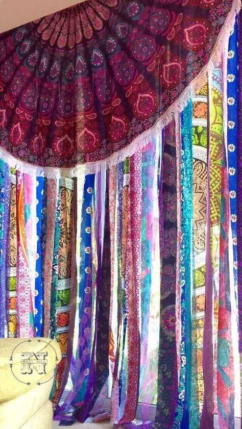Gypsy Curtains Boho Curtain Hippie Room-Dorm Decor Glamping decor diy curtains Items similar to Gypsy Curtains Boho Curtain Hippie Room-Dorm Decor Glamping Sequin Mandala Tapestry Rag Garland Backdrop Festival Tent Vanlife on Etsy Gypsy Curtains, Rustic Curtains, Vintage Curtains, Tapestry Curtains, Tapestries Diy, Wall Tapestry, Farmhouse Curtains, Hippy Room, Boho Room