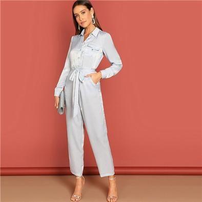 Hot Pink Contrast Side Seam Wrap Jumpsuits with Belt for Women Deep V Neck Long Sleeve Jumpsuit
