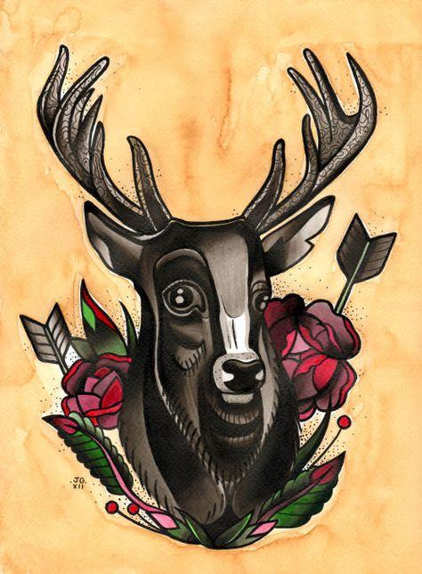 Mr Stag & Roses - A4 Tattoo Flash Art Print. £10.00, via Etsy.