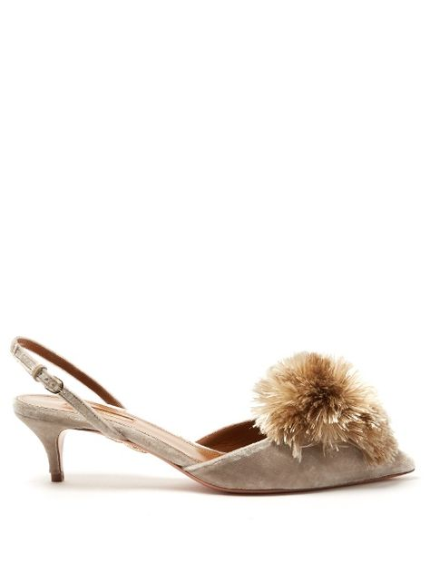 ffee3f6d96de Aquazzura Powder Puff velvet kitten-heel pumps