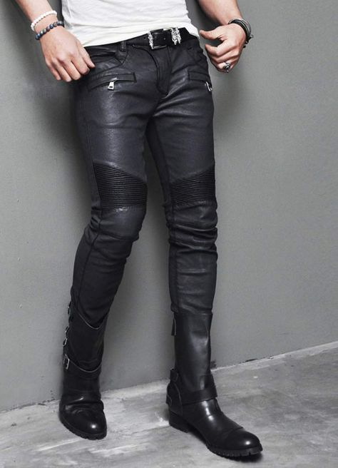 Bottoms :: Best Ever Wax Coated Leather Seaming Skinny Biker-Pants 109 - Mens Fashion Clothing For An Attractive Guy Look