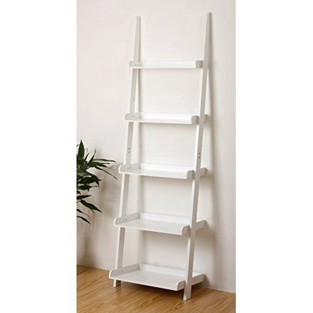 5 Tier Leaning Wall Bookcase Shelf In White Walmart Com 75 00 Bookcase Shelves Shelves Home Office Furniture