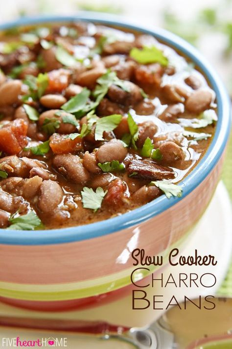 """Slow Cooker Charro Beans ~ these """"cowboy beans"""" are loaded with bacon, garlic, tomatoes, herbs, and spices, making them an excellent side dish to any Mexican entree!   FiveHeartHome.com"""