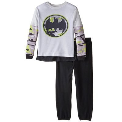 DC Comics Batman Boy/'s Black Shirt with Neon Long Sleeves and Neon Beanie S 6//7
