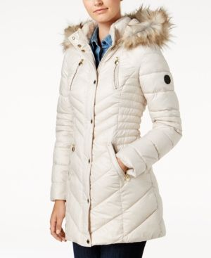 Laundry By Shelli Segal Faux Sherpa Hooded Cinched Waist Puffer