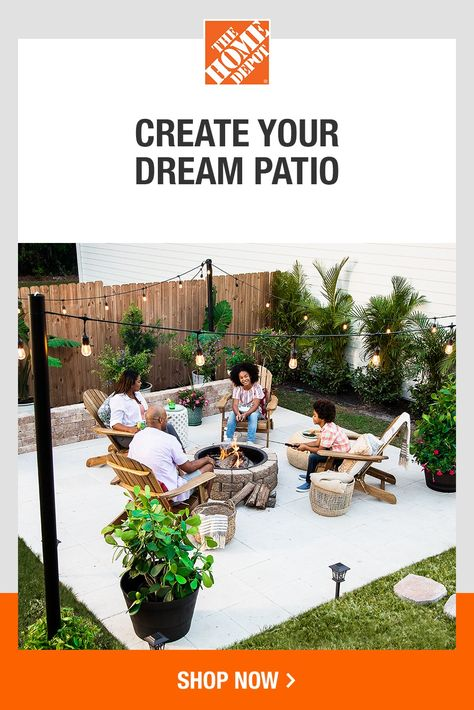 Find what you need to complete your dream back yard at The Home Depot. Whether you are decorating your patio or adding a cozy fire pit, The Home Depot has what you need to make your space not only beautiful but also functional. Tap to shop at The Home Depot.