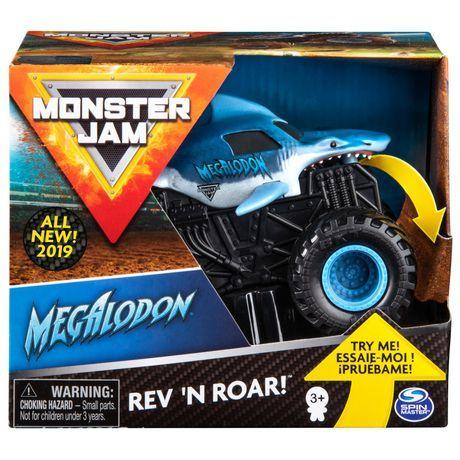 Monster Jam Monster Jam Official Megalodon Rev N Roar Monster Truck 1 43 Scale Multicolour Monster Jam Monster Trucks Monster Truck Toys