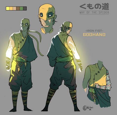 NOT OFFICIAL MARVEL ART! Bushin character re-design: Iron Fist Godhand I don't think you guys realize just how powerful Danny actually is. This is a series of my Spider-man related characters reimagined as martial artists, ninjas, samurais and Fantasy Character Design, Character Design Inspiration, Character Concept, Character Art, Concept Art, Dnd Characters, Fantasy Characters, Arte Dark Souls, Spiderman Kunst