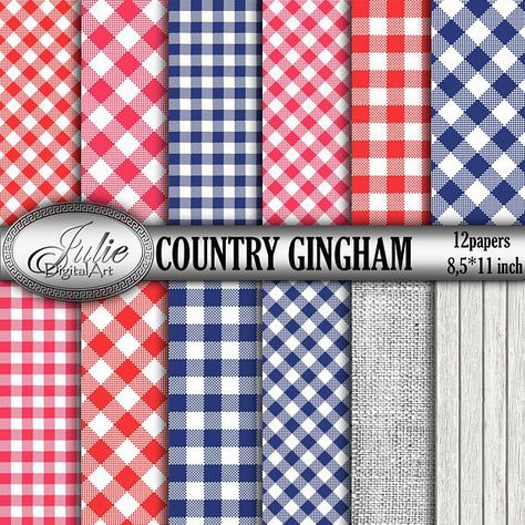 Navy And Red Gingham Digital Papers Blue Red Digital Paper