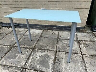 Ikea Frosted Glass Desk Kitchen Dining Table Brushes Chrome Frosted Glass Desk Table Ikea For Sale In North Babylon In 2020 Glass Desk Glass Top Desk Glass Top Table