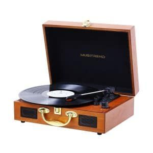 Musitrend Suitcase Record Player With Built In Speakers Vinyl Record Player Turntable Record Player Portable Record Player