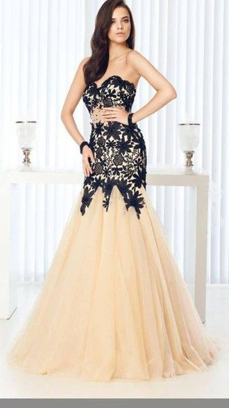 gown wedding mermaid prom dress baige black formel special occasion dress