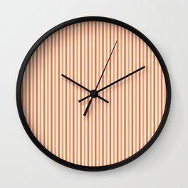 Skinny Stripes Coral Wall Clock Clock Wall Clock Coral Walls