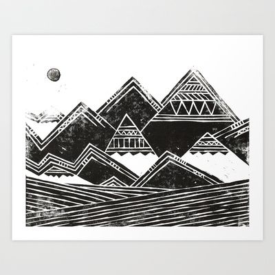 Abstract Tribal Mountains Illustration..would make an amazing tattoo..love the style. This would be an awesome mountain tattoo