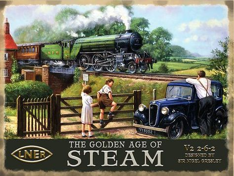 Steam Train, LNER Flying Scotsman Railway Engine Golden age Small Metal/Tin Sign | eBay A real train.