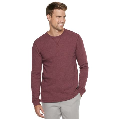 "40b41687c8 Men's SONOMA Goods for Lifeâ""¢ Slim-Fit Supersoft Thermal Raglan Tee, Size:  Medium, Dark Red"