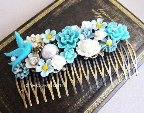 Blue Hair Comb Turquoise Wedding Headpiece Teal Bride Hair Slide