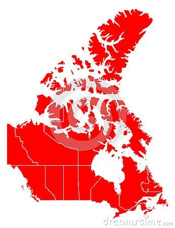 Map Of Canada Red.Vector Red Map Of Canada With State Boundaries Isolated On White