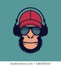 Cool Monkey With Glasses And Headphones Affe Malen Vektorgrafik