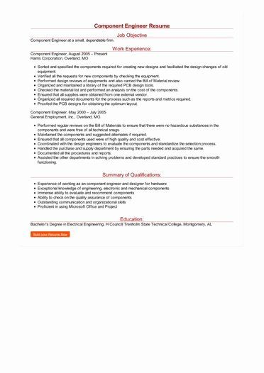 Electrical Engineering Resume Objective Inspirational Sample Ponent Engineer Resume In 2020 Engineering Resume Engineering Resume Objective