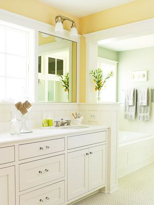 This Is My Dream Master Bathroom Yellow Is My Favorite Color Because It Is So Cheery And The Natural Li Yellow Bathrooms Yellow Bathroom Walls Bathroom Design