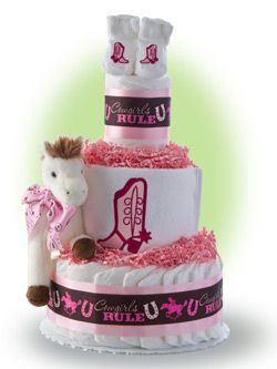 Join Us for a Lil Western Style Rodeo. Our Cowboy Girl Rules diaper cake reminds us that girls can do it too! Only $67.00